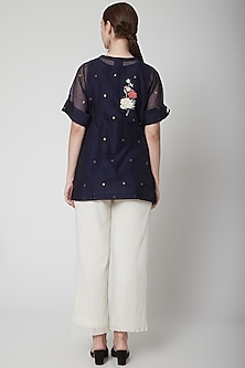 Blue Embroidered Shirt With White Pants by Prama by Pratima Pandey