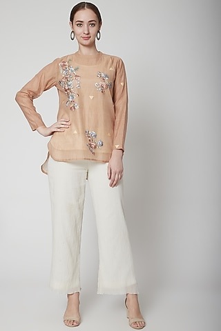 Beige Embroidered Shirt With White Pants by Prama by Pratima Pandey