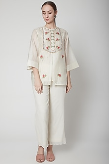 Ivory Sequins Embroidered Shirt With Pants by Prama by Pratima Pandey