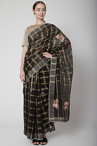 Black & Gold Saree Set With Checks by Prama by Pratima Pandey