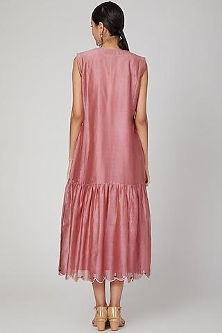 Peach Scallop Embroidered Dress by Prama by Pratima Pandey