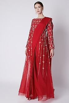 Red Embroidered Jacket Saree Set by Pink Peacock Couture