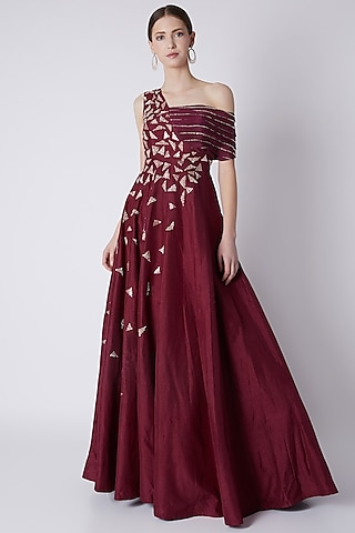 Maroon Sequins Embroidered Gown by Pink Peacock Couture