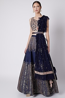 Cobalt Blue Embroidered Lehenga Set by Pink Peacock Couture