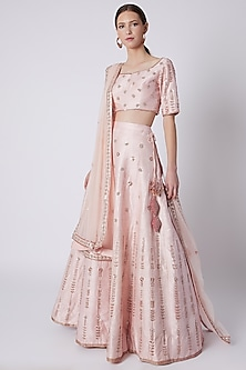 Pink Floral Embroidered Lehenga Set by Pink Peacock Couture