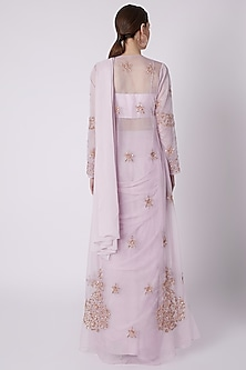Lilac Saree Set With Embroidered Jacket by Pink Peacock Couture