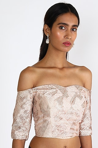 Pink Embroidered Off Shoulder Blouse by Pink Peacock Couture