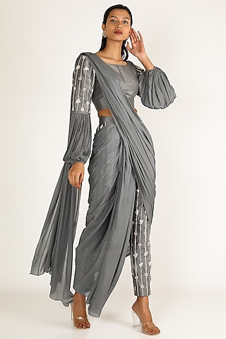 Grey Embroidered Pant Saree Set by Pink Peacock Couture