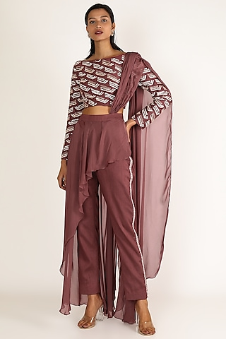 Brown Embroidered Pant Saree Set by Pink Peacock Couture
