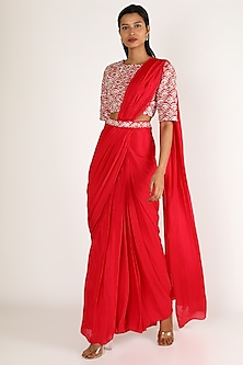 Red Embroidered Pleated Saree Set by Pink Peacock Couture