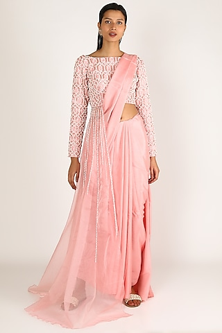 Rose Pink Embroidered Saree Set by Pink Peacock Couture