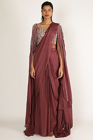 Brown Embroidered Saree Set by Pink Peacock Couture