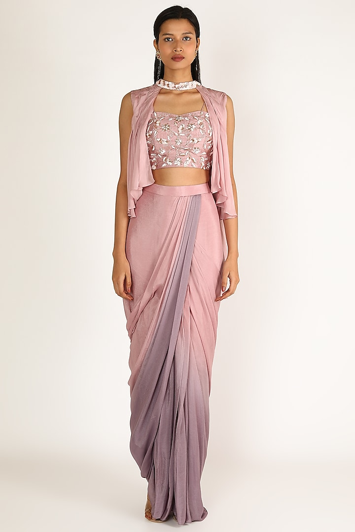 Blush Pink Embellished Dhoti Set by Pink Peacock Couture