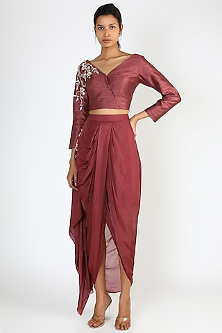 Brick Brown Dhoti Set by Pink Peacock Couture