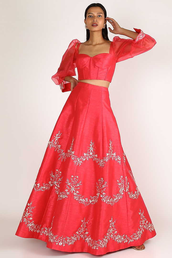 Red Embroidered Dupion Skirt Set by Pink Peacock Couture