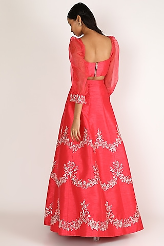 Rose Pink Embroidered Dupion Skirt Set by Pink Peacock Couture