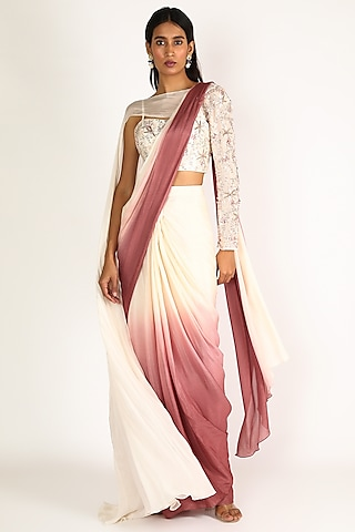 Nude & Lilac Ombre Embroidered Saree Set by Pink Peacock Couture