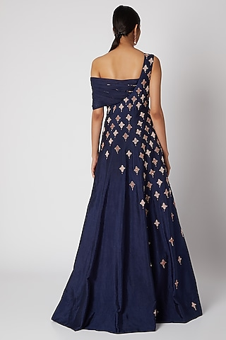Navy Blue Embroidered Gown by Pink Peacock Couture