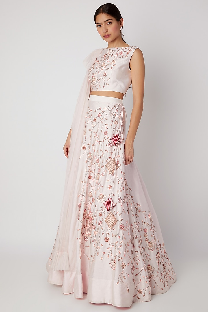 Lilac Embroidered Lehenga Set by Pink Peacock Couture