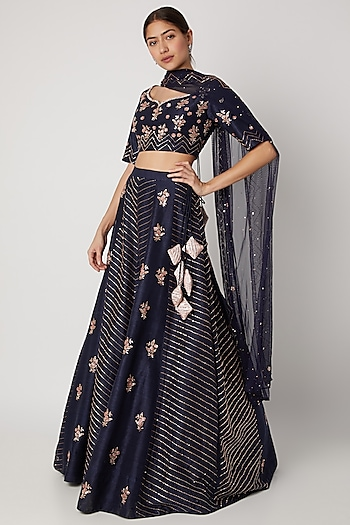 Navy Blue Sequins Embroidered Lehenga Set by Pink Peacock Couture