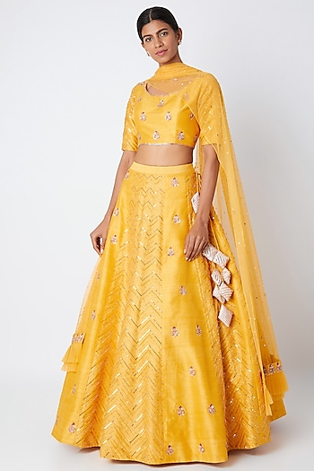 Yellow Embroidered Lehenga Set by Pink Peacock Couture