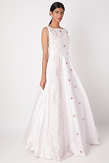 Lilac Embroidered Shoulder Panel Gown by Pink Peacock Couture