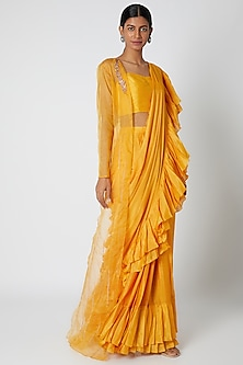 Mango Yellow Embroidered Ruffled Saree Set by Pink Peacock Couture