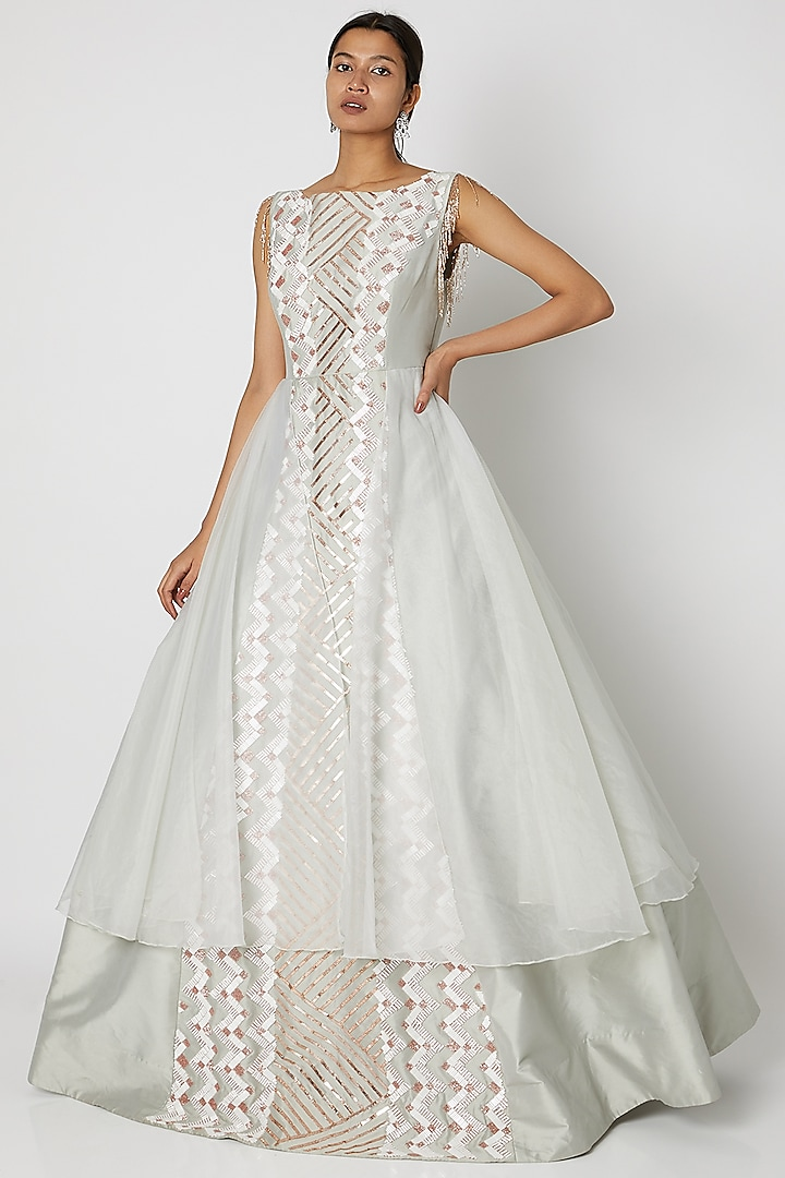Light Olive Green Embroidered Gown by Pink Peacock Couture