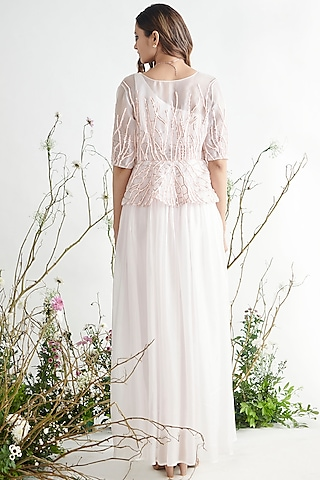 Light Pink Embroidered Pant Set by Pink Peacock Couture