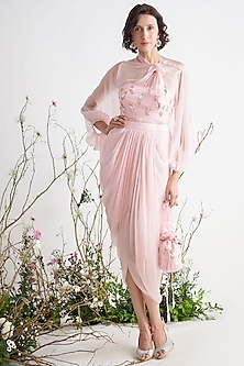 Rose Pink Tunic Set by Pink Peacock Couture-PINK PEACOCK COUTURE