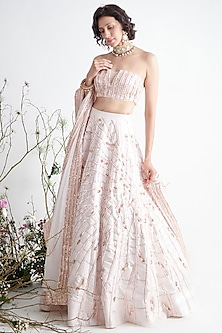 Light Pink Embroidered Lehenga Set by Pink Peacock Couture-PINK PEACOCK COUTURE