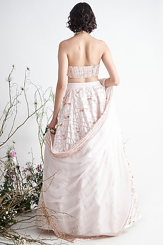 Light Pink Embroidered Lehenga Set by Pink Peacock Couture