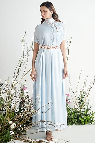 Light Blue Embroidered Kaftan With Belt by Pink Peacock Couture