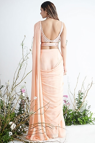 Peach Embroidered Saree Set by Pink Peacock Couture