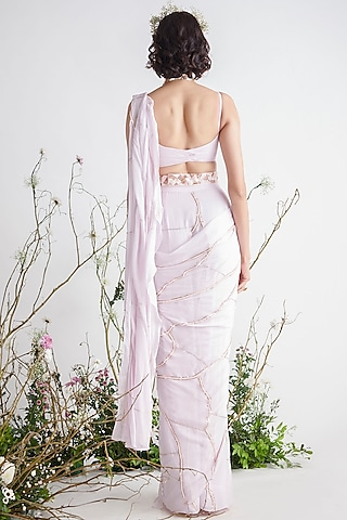 Light Lilac Embroidered Saree Set by Pink Peacock Couture