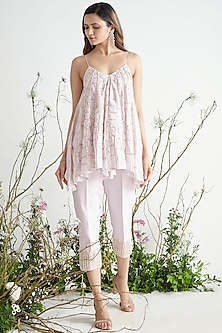 Lilac Embroidered Tunic Set by Pink Peacock Couture-PINK PEACOCK COUTURE