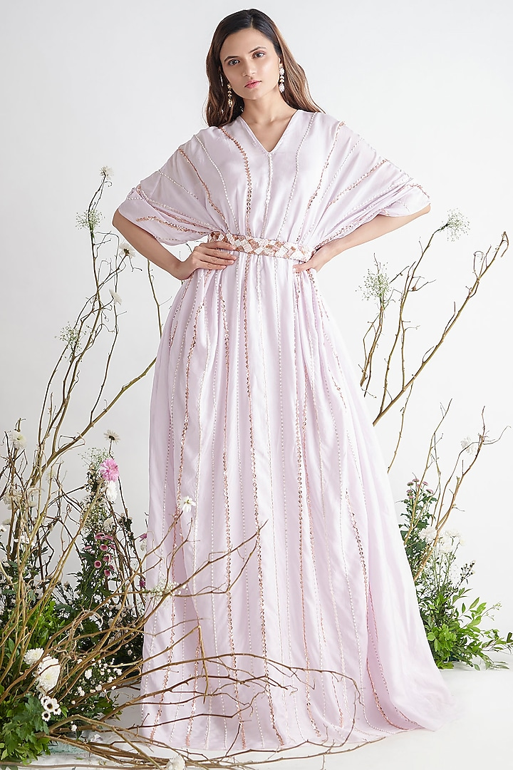 Lilac Embroidered Kaftan With Belt by Pink Peacock Couture