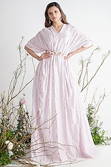 Lilac Embroidered Kaftan With Belt by Pink Peacock Couture-PINK PEACOCK COUTURE