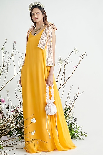 Yellow Embroidered Maxi Dress by Pink Peacock Couture