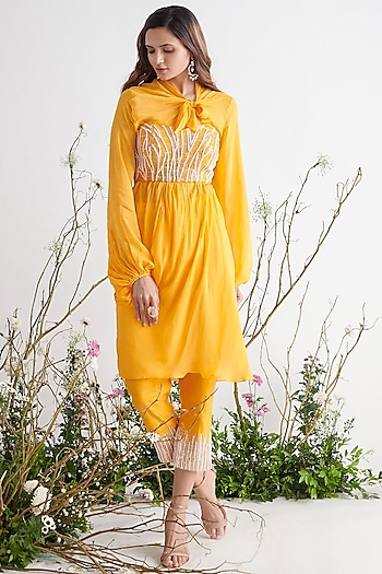 Yellow Embroidered Tunic Set by Pink Peacock Couture