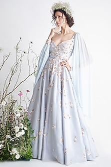 Light Blue Embroidered Draped Gown by Pink Peacock Couture-PINK PEACOCK COUTURE