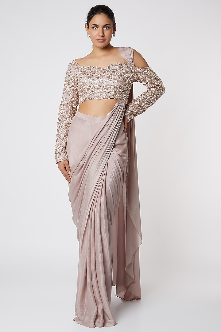 Dusty Lilac Saree With Attached Blouse by Pink Peacock Couture