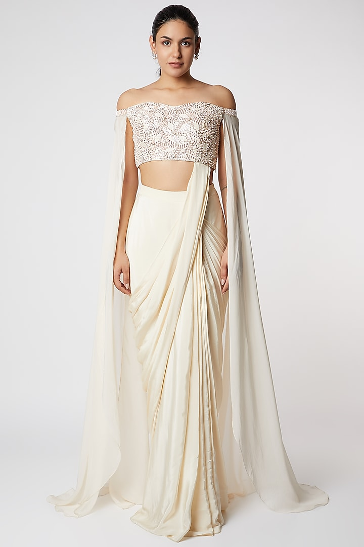 Cream Saree With Attached Blouse by Pink Peacock Couture