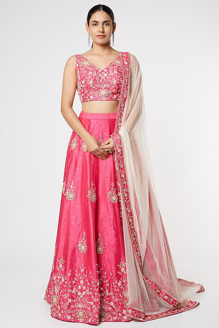 Hot Pink Aari Embroidered Lehenga Set by Pink Peacock Couture