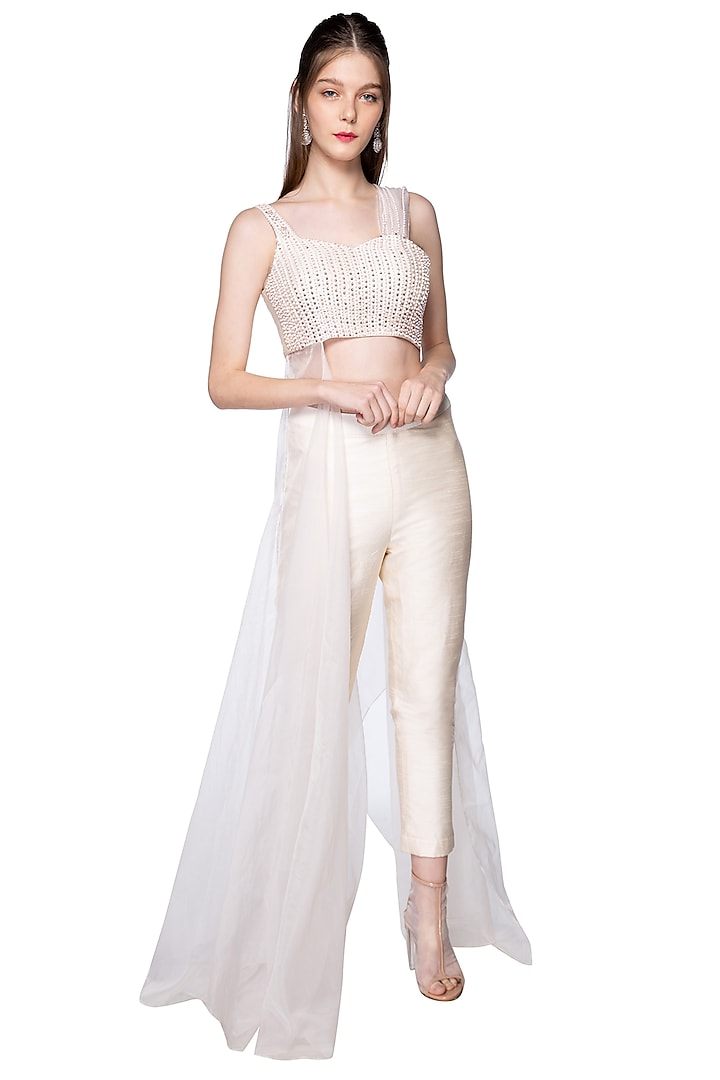 Cream Embroidered Bustier With Pants by Pink Peacock Couture