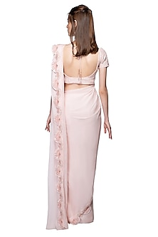 Baby Pink Embroidered Saree Set by Pink Peacock Couture