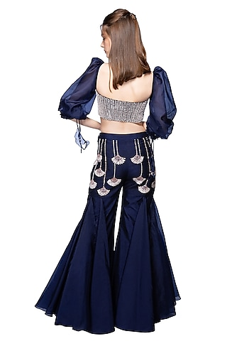 Navy Blue Embroidered Pants With Bustier by Pink Peacock Couture