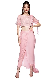 Rose Pink Embroidered Pants Saree Set by Pink Peacock Couture