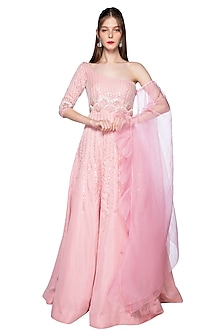 Rose Pink Embroidered Gown by Pink Peacock Couture
