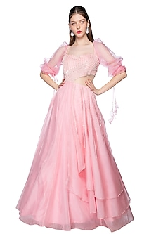 Rose Pink Sequins Embroidered Gown by Pink Peacock Couture
